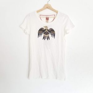 NEW Lucky Brand Bird Embroidery Short Sleeve Med